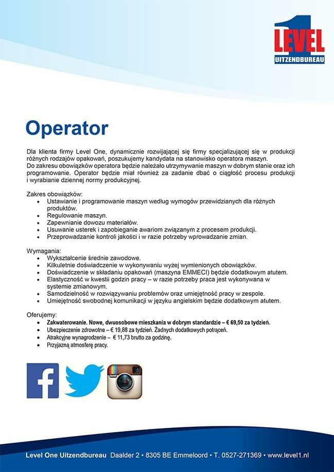 lingo4 410707 Vacature uitzetten Polen operator