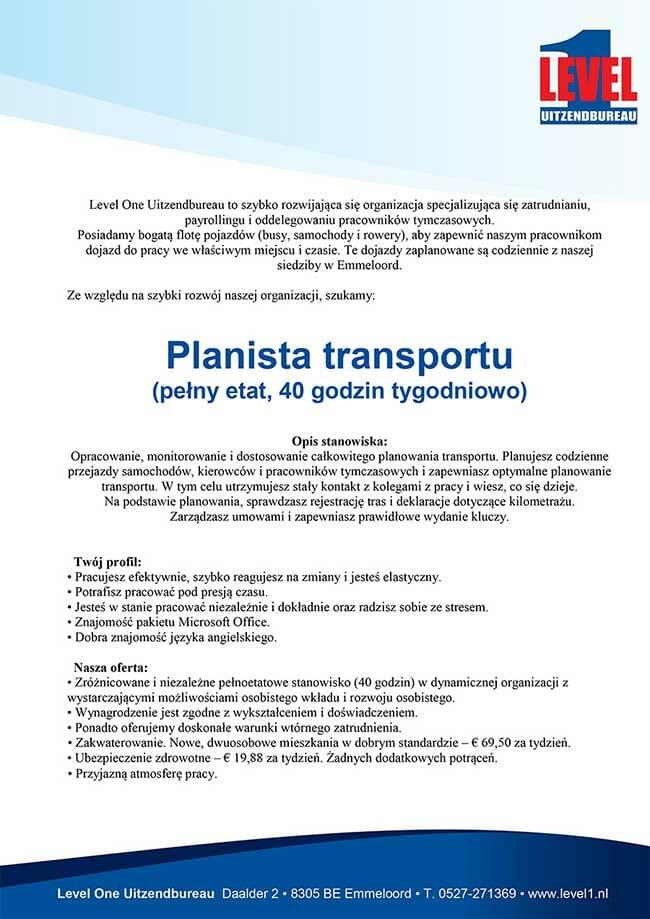 Transport Planner oferta pracy
